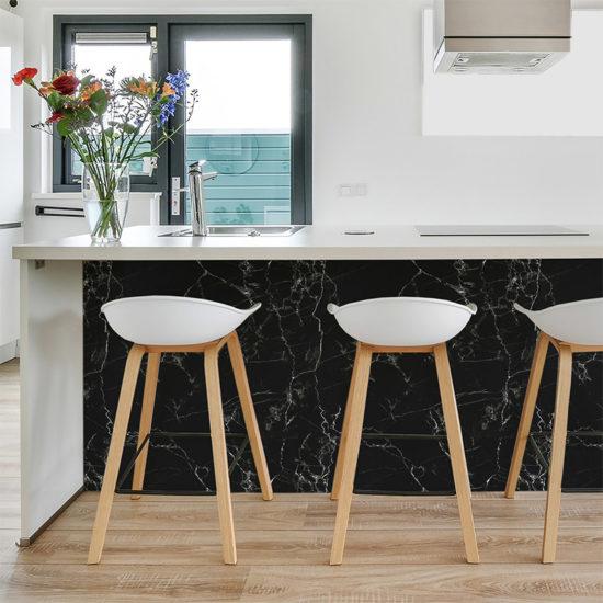 vinilo decorativo Black Marble, cocina