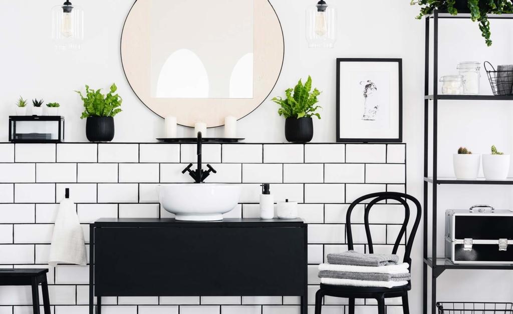 Tendencia baños decoración blanco y negro