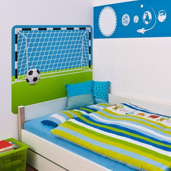 Habitación infantil cabecero de cama portería de futbol