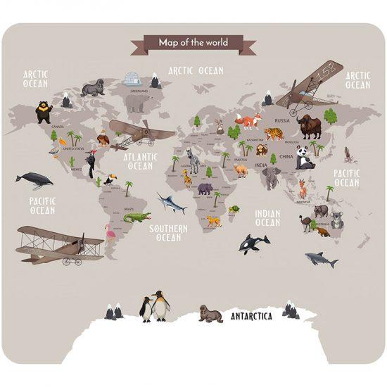 Cabecero de cama infantil de mapa del mundo marrón 90 x 80 cm