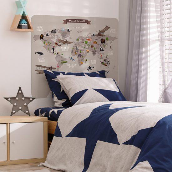 Habitación infantil cabecero de cama mapa del mundo marrón