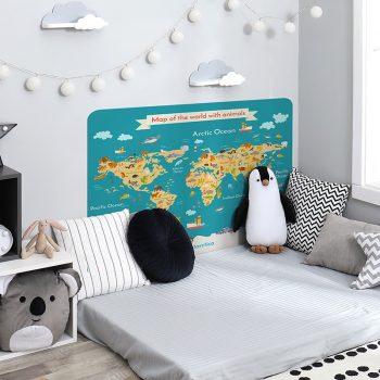 Habitación infantil cabecero de cama mapa mundi animals