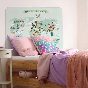 Habitación infantil cabecero de cama mapa del mundo