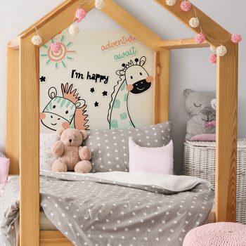 Habitación infantil cabecero de cama Happy animals