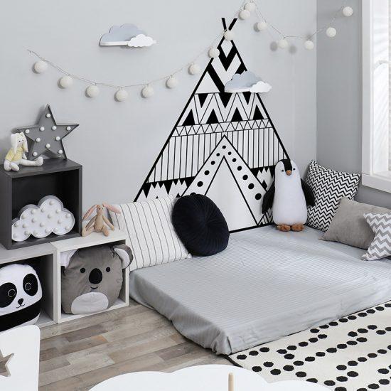 Habitación infantil cabecero de cama Tippy blanco y negro
