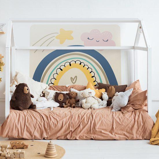 Habitación infantil cabecero de cama arcoiris love