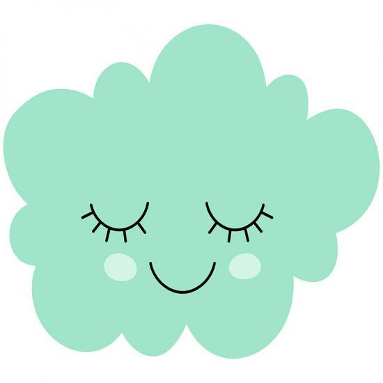 Cabecero de cama infantil nube turquesa 90 x 80 cm