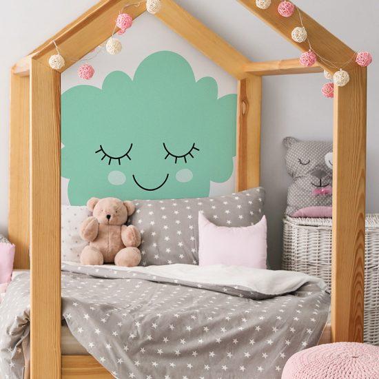 Habitación infantil cabecero de cama nube turquesa