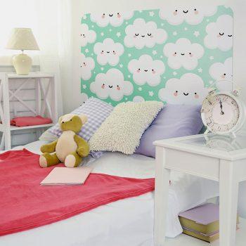 Habitación infantil cabecero de cama nubelandia turquesa