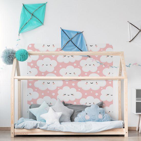 Habitación infantil cabecero de cama nubelandia rosa