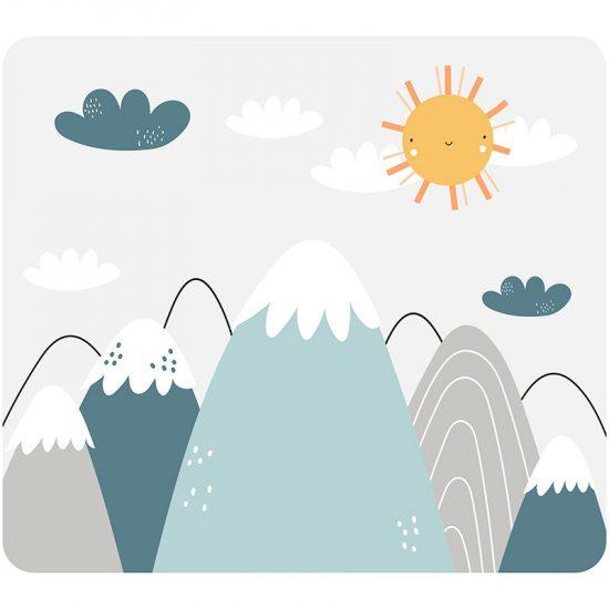 Cabecero de cama infantil montañas azules 90 x 80 cm