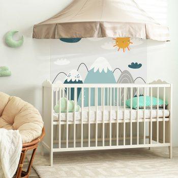 Habitación infantil cabecero de cama montañas azules