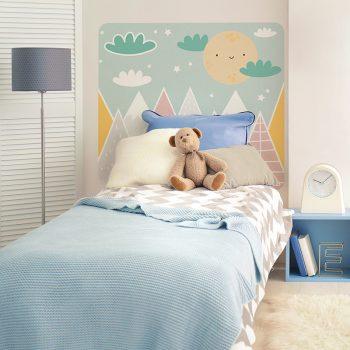 Habitación infantil cabecero de cama Happy mountains